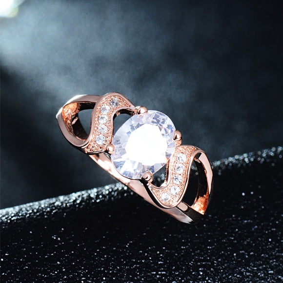 Rose Gold / Silver Diamond Encrusted Love Ring