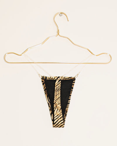 GLASS THONG BIKINI BOTTOM // GOLD HOLOGRAM TIGER