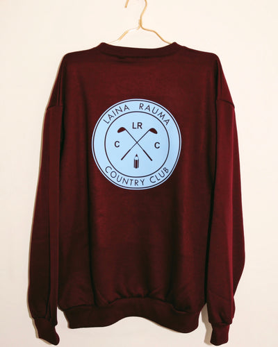 LAINA RAUMA COUNTRY CLUB CREWNECK // BURGUNDY / BABY BLUE