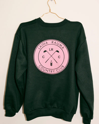 LAINA RAUMA COUNTRY CLUB CREWNECK // FOREST GREEN / PINK