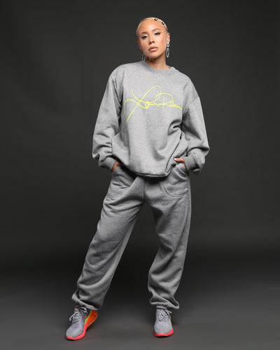 LAINA RAUMA SIGNATURE CREWNECK // HEATHER GREY/NEON