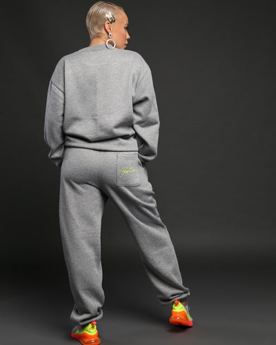 LAINA RAUMA SIGNATURE SWEATPANTS // HEATHER GREY/NEON
