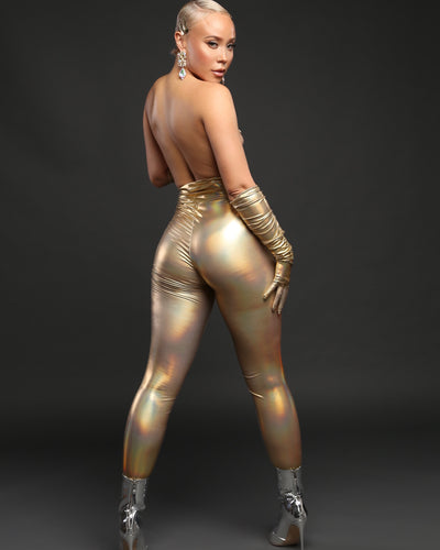 BETTY LEGGING // GOLD HOLOGRAM