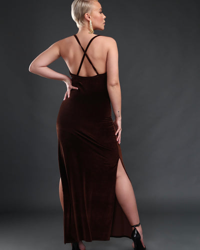 LEISURE SLIP DRESS // CHOCOLATE VELVET