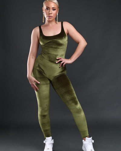 LEISURE PLAYSUIT // OLIVE VELVET