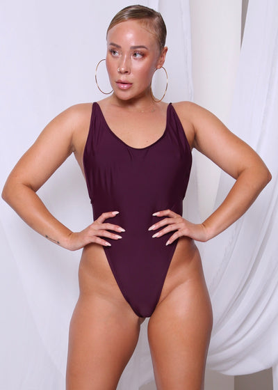 SPAGHETTI STRAP ONE PIECE // PLUM