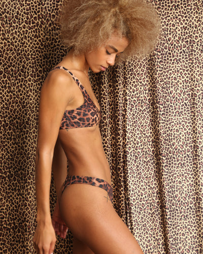 LEOPARD TWO SCOOPS BIKINI TOP