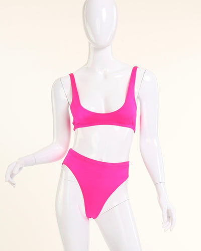CLASSIC PIN-UP HIGH WAIST PANTY BIKINI BOTTOM // HOT PINK