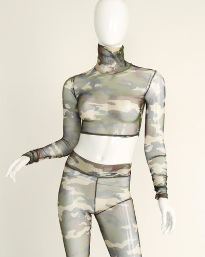 SHEER GRACE TURTLENECK // CAMOUFLAGE