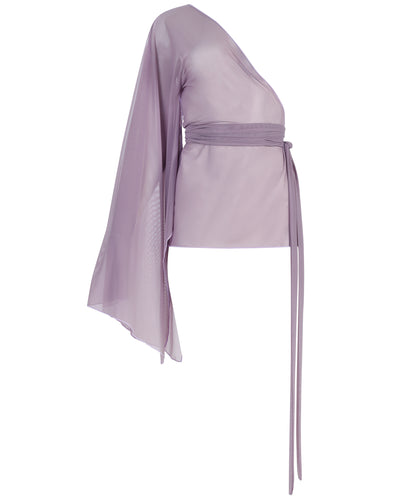 ONE-SLEEVED DRAPED MINI // SMOKED LILAC