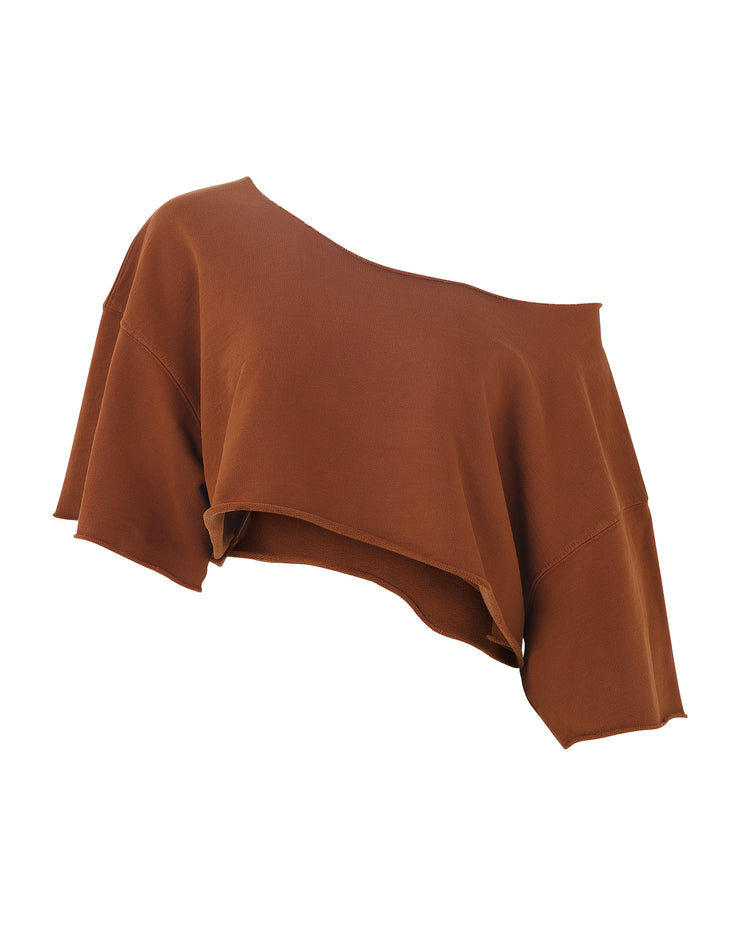 TAKEOFF TEDDY OFF-SHOULDER CROP // TOBACCO LEAF