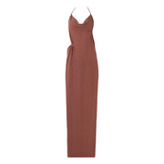 DOUBLE DIP ASYMMETRICAL HALTER DRESS // LOLA
