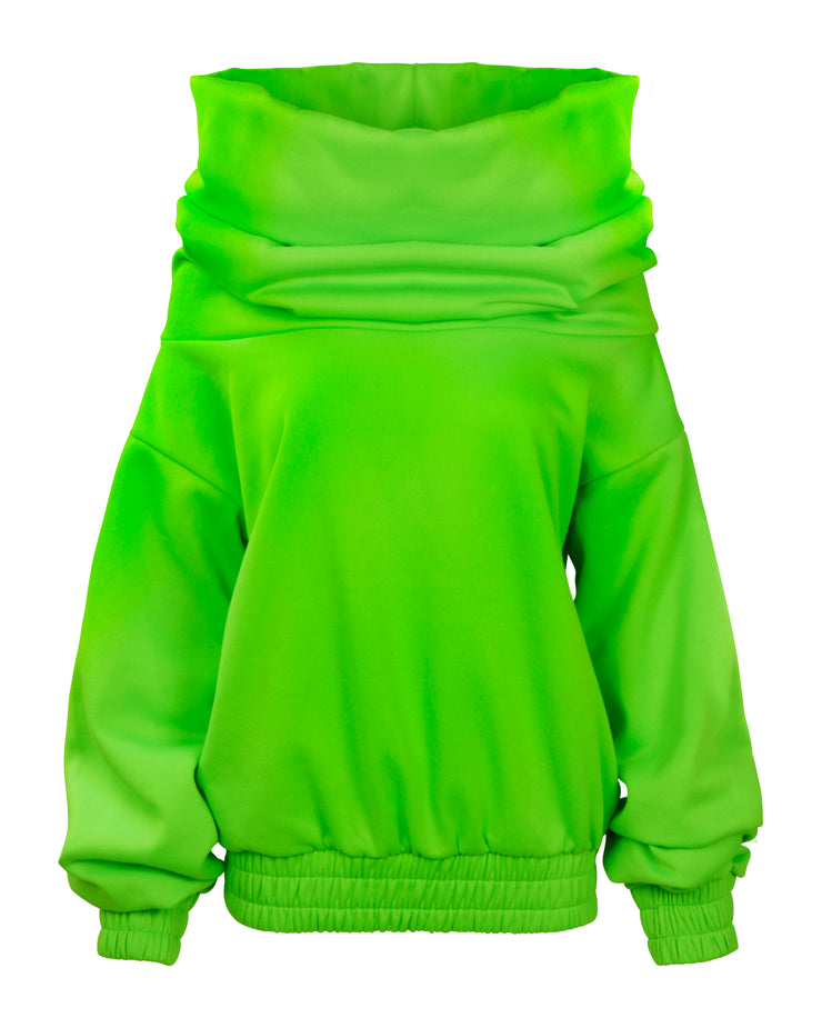 TAKEOFF TEDDY SWEATER // NEON GREEN