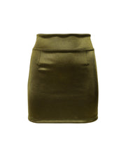 THE SATIN MINISKIRT // CARDAMOM