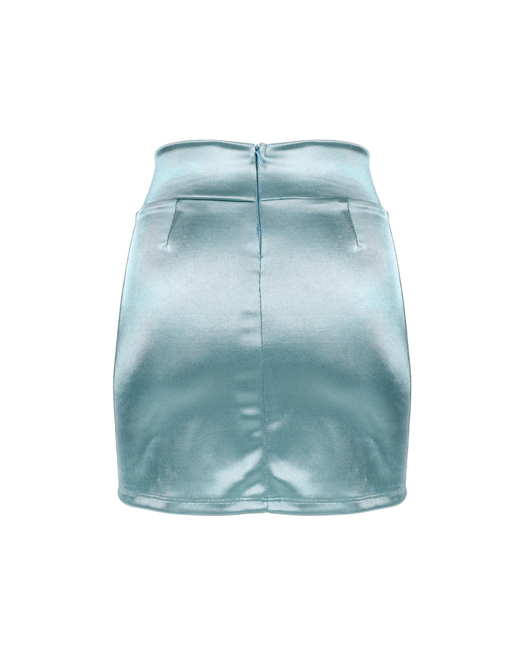 THE SATIN MINISKIRT // BLUE SALT