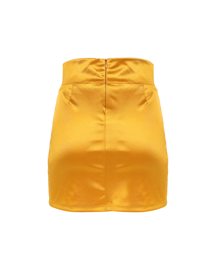 THE SATIN MINISKIRT // SAFFRON