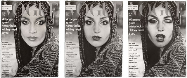 Cindy Sherman as Jerry Hall in Vogue, Cover Girls Triptych 1976
