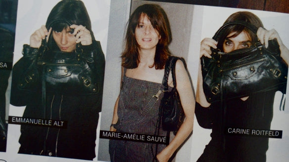 Emmanuelle Alt, Marie-Amelie Sauve and Carine Roitfeld with their Balenciaga Motorcycle Lariat Bags