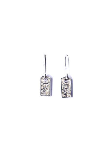 Christian DiorRhinestone Dog Tag Earrings- irvrsbl