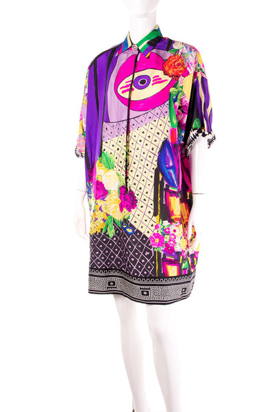 VersacePrinted Silk Shirt Dress- irvrsbl