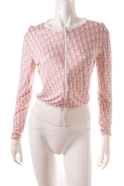 Christian DiorPink Monogram Zip Up Top- irvrsbl
