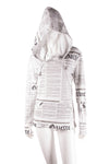 Newspaper Print Hooded Top