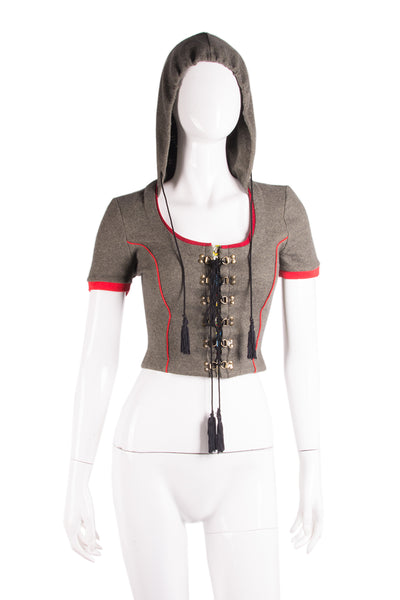 Dolce and GabbanaHooded Laceup Top- irvrsbl
