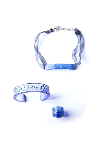 Christian Dior Lucite Bangle, Ring and Choker Set - irvrsbl