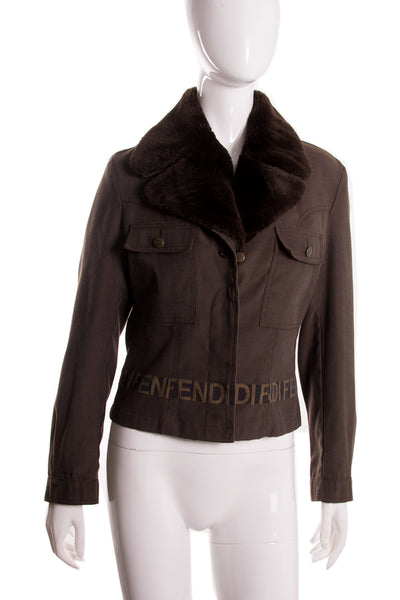 Fendi Faux Fur Collar Jacket - irvrsbl