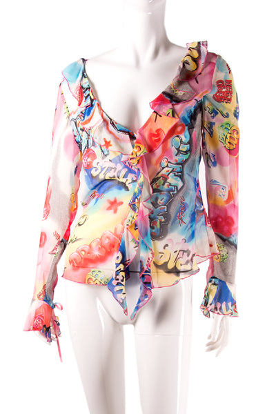 EscadaSheer Graffiti Print Top- irvrsbl