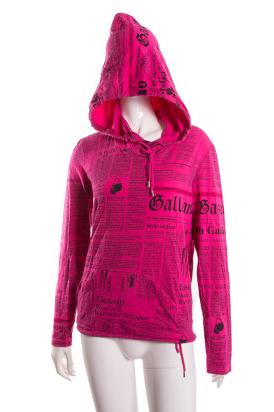 John Galliano Hot Pink Newspaper Print Top - irvrsbl