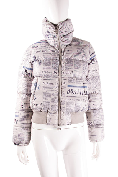 John GallianoNewspaper Print Puffer Jacket- irvrsbl