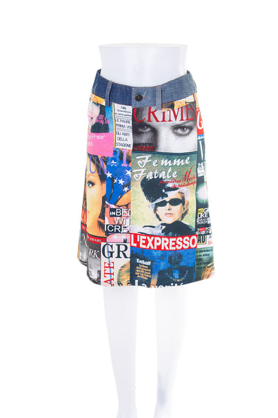 Dolce and Gabbana Tabloid Magazine Print Skirt - irvrsbl