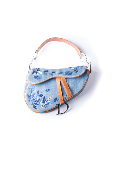 Embroidered Denim Saddle Bag