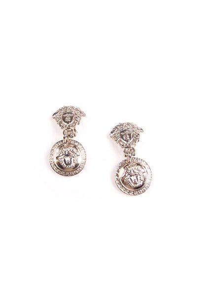 Versace Medusa Head Clip on Earrings in Silver - irvrsbl