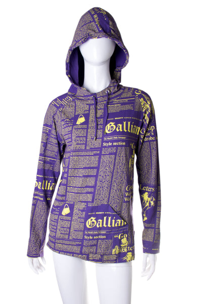 John GallianoGazette Print Hooded Top- irvrsbl
