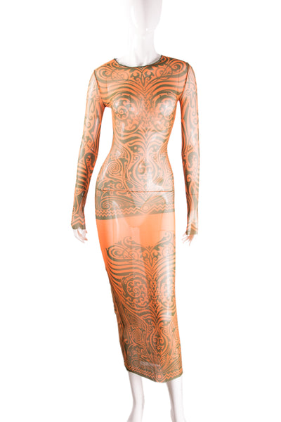Sheer Tattoo Print Dress