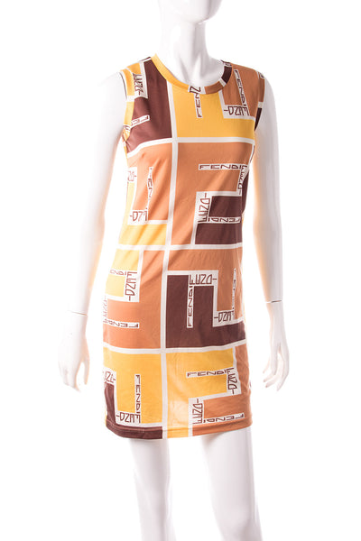 Allover Logo Print Dress