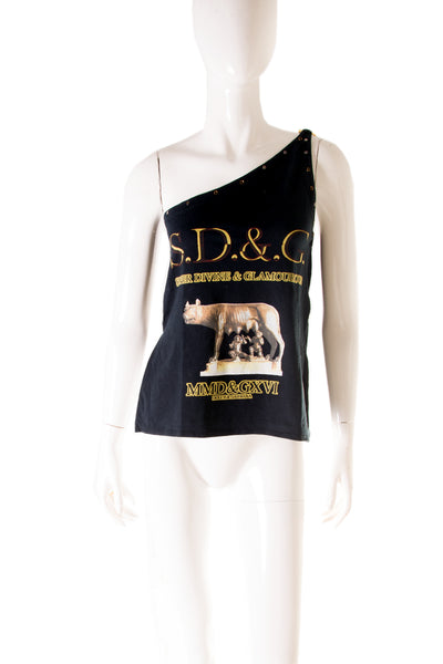 "Dolce and Gabbana ""Romulus and Remus"" One Shoulder Top - irvrsbl"