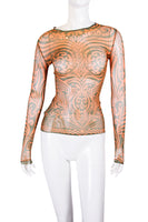 Jean Paul GaultierSheer Tattoo Printed Top- irvrsbl