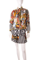 VersacePostcard Print Silk Shirt and Pleated Skirt- irvrsbl