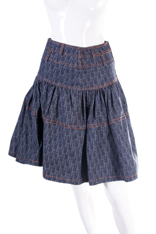 Monogram Printed Denim Skirt