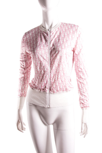 Pink Monogram Zip Up Top