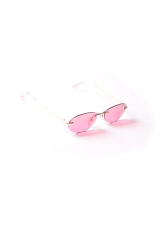 Cat Frameless Pink Sunglasses