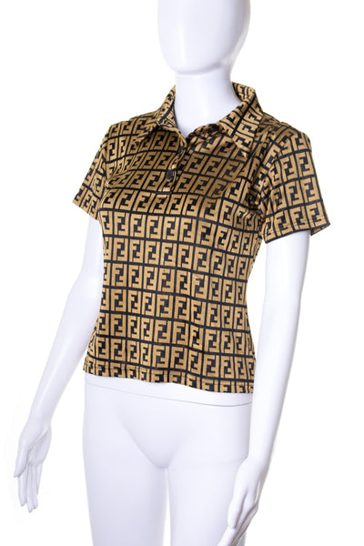 FendiZucca Print Polo Top- irvrsbl