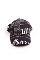 Newspaper Print Cap in Black