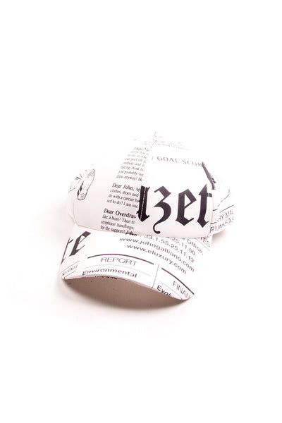 Newspaper Print Cap in White