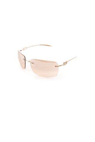 Frameless Reflective Gold Sunglasses