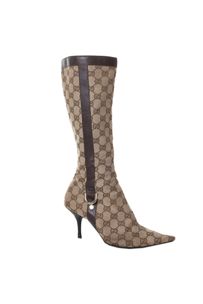 Gucci Pointed Toe Monogram Boots - irvrsbl