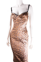 Satin Leopard Print Dress